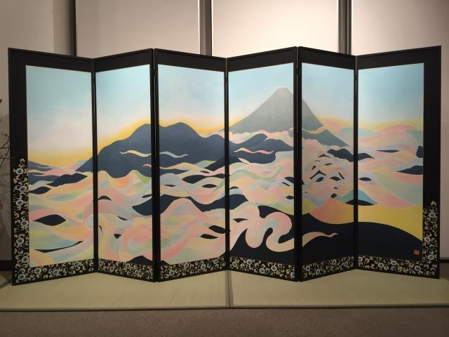 富士来光図・富士月光図(板屏風/六曲一双)