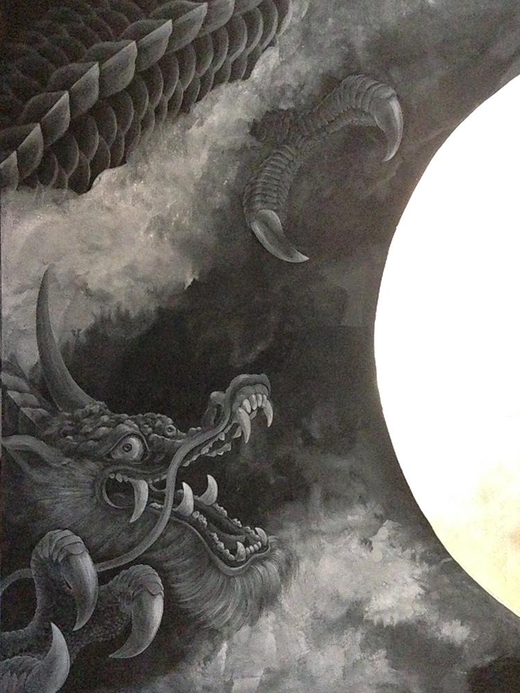 衝立絵付け『三光天子龍雲図』